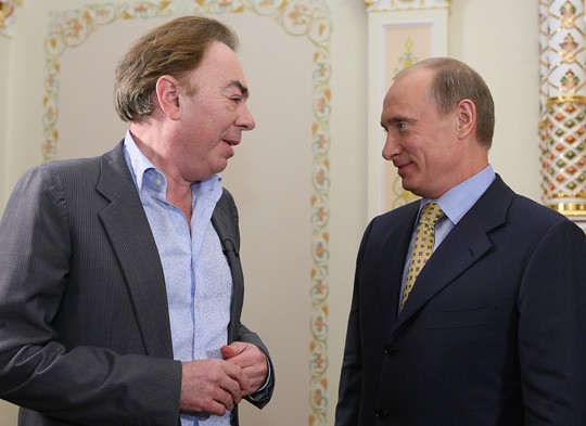 Andrew LLoyd Webber meets with    Prime Minister Vladimir Putin in 2008.