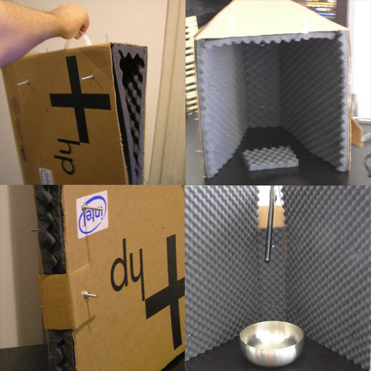 A very cheap DIY vocal booth you can make out of simple materials, like cardboard and foam.