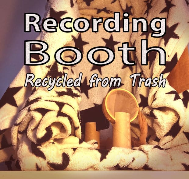A vocal recording booth constructed completely out of trash